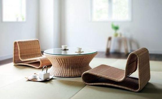 Bộ bàn ghế mây kiểu Nhật độc đáo